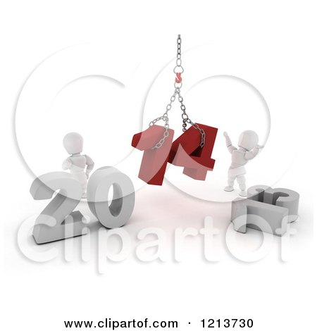 Clipart of 3d New Year White Characters Replacing 2013 with 2014 on a Hoist - Royalty Free CGI Illustration by KJ Pargeter