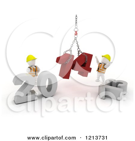 Clipart of 3d New Year White Construction Characters Replacing 2013 with 2014 - Royalty Free CGI Illustration by KJ Pargeter