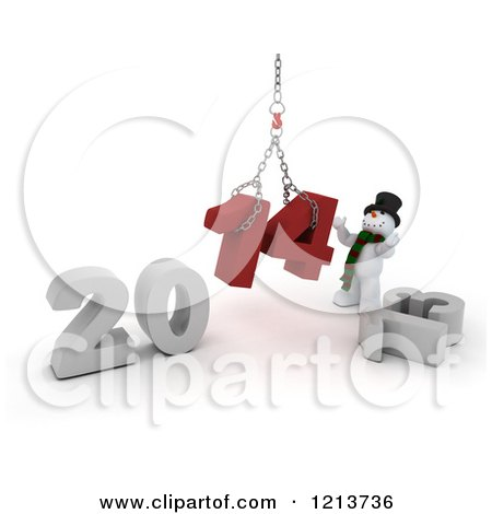 Clipart of a 3d Snowman Assembling 2014 New Year Together with a Hoist - Royalty Free CGI Illustration by KJ Pargeter