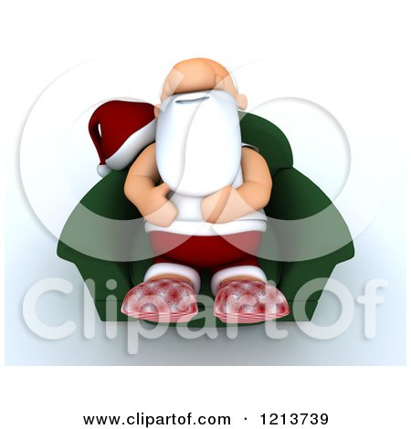 Clipart of a 3d Exhausted Santa Relaxing in a Chair - Royalty Free CGI Illustration by KJ Pargeter