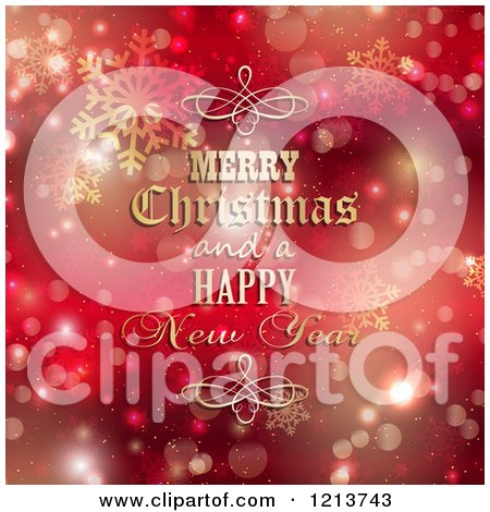 Clipart of a Merry Christmas and a Happy New Year Greeting with Gold Designs over Red Bokeh and Snowflakes - Royalty Free Vector Illustration by KJ Pargeter