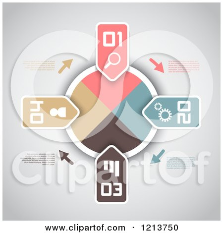 Clipart of an Infographics Dial with Numbered Tabs and Sample Text on Gray - Royalty Free Vector Illustration by KJ Pargeter