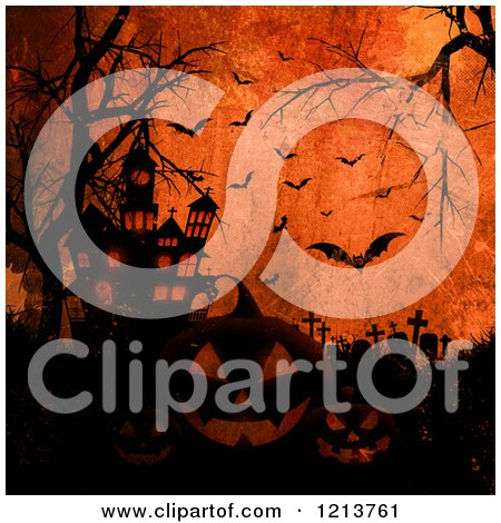 Clipart of a Cemetery with Bare Trees Jackolanterns Bats and a Haunted House over Grungy Orange - Royalty Free Vector Illustration by KJ Pargeter