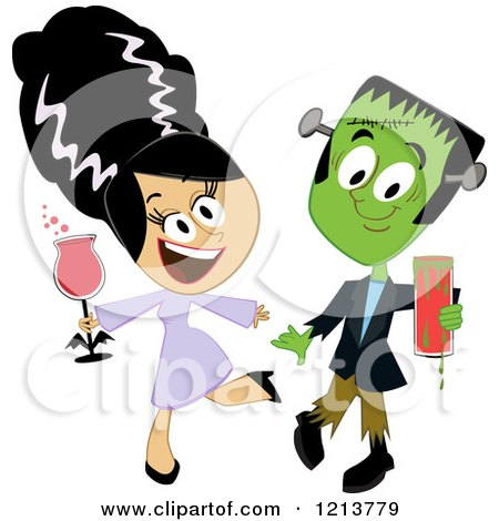 Cartoon of Frankenstein and His Bride Holding Drinks and Dancing at a Halloween Party - Royalty Free Vector Clipart by peachidesigns