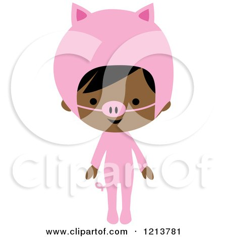 Cartoon of a Cute Black Girl in a Pink Piggy Halloween Costume - Royalty Free Vector Clipart by peachidesigns