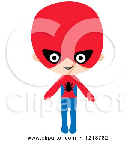 Cartoon of a Happy Boy in a Super Hero Spider Halloween Costume - Royalty Free Vector Clipart by peachidesigns