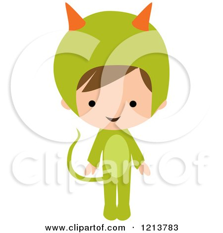 Cartoon of a Cute Boy in a Green Monster Halloween Costume - Royalty Free Vector Clipart by peachidesigns