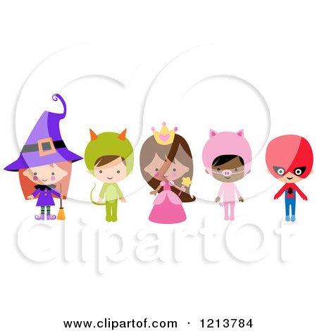 Cartoon of Cute Children in Witch Princess Pig Super Hero Halloween Costumes - Royalty Free Vector Clipart by peachidesigns
