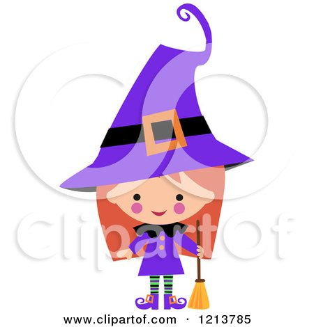 Cartoon of a Cute Girl in a Purple Witch Halloween Costume - Royalty Free Vector Clipart by peachidesigns