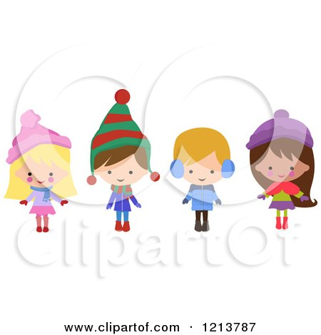 Cartoon of Happy Christmas Children in Winter Clothes - Royalty Free Vector Clipart by peachidesigns