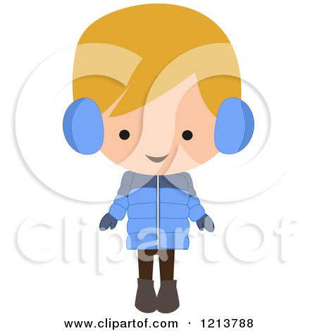 Cartoon of a Happy Blond Boy Wearing a Winter Coat and Ear Muffs - Royalty Free Vector Clipart by peachidesigns