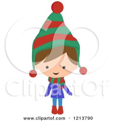 Cartoon of a Happy Brunette Boy Wearing a Winter Coat Scarf and Hat - Royalty Free Vector Clipart by peachidesigns