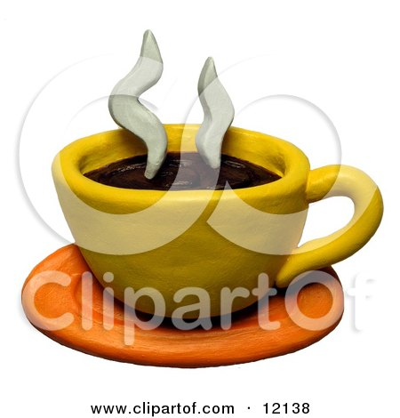 Clay Sculpture Clipart Steamy Cup Of Coffee - Royalty Free 3d Illustration  by Amy Vangsgard