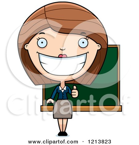 Cartoon of a Happy Female Teacher Holding a Thumb up - Royalty Free Vector Clipart by Cory Thoman