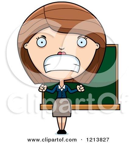 Cartoon Of A Black And White Depressed Female Teacher