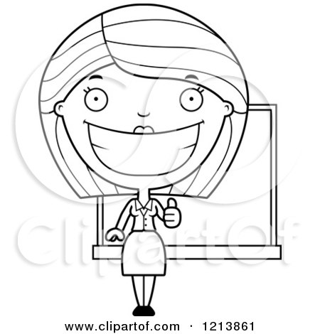 Cartoon of a Black And White Happy Female Teacher Holding a Thumb up - Royalty Free Vector Clipart by Cory Thoman