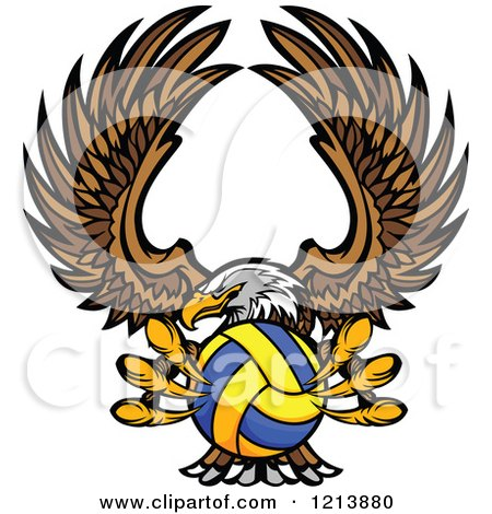 Cartoon of a Bald Eagle Flying with a Water Polo Ball in Its Talons - Royalty Free Vector Clipart by Chromaco