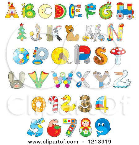 Cartoon of Animal and Object Alphabet Letters and Numbers - Royalty Free Vector Clipart by Alex Bannykh