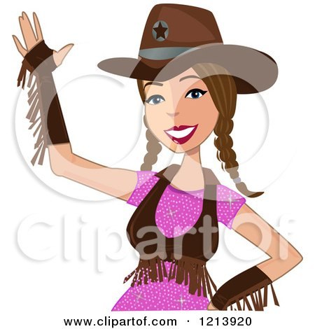 Cartoon of a Friendly Waving Brunette Cowgirl with Braids - Royalty Free Vector Clipart by peachidesigns