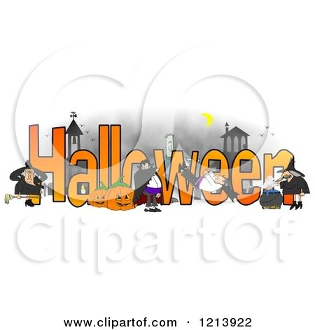 Cartoon of a Vampires Frankenstein and Witches Around the Word HALLOWEEN - Royalty Free Clipart by djart