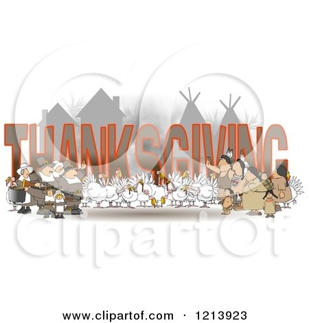 Cartoon of Turkey Birds Pilgrims and Native American Indians Around the Word THANKSGIVING - Royalty Free Clipart by djart