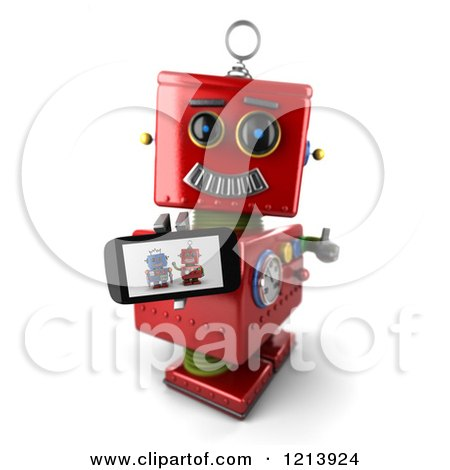 Clipart of a 3d Red Vintage Robot Holding a Thumb up and a Smart Phone with a Picture on the Screen - Royalty Free CGI Illustration by stockillustrations