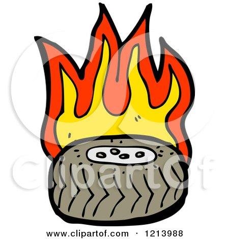 Cartoon of a Flaming Tire - Royalty Free Vector Illustration by lineartestpilot