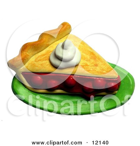 Clay Sculpture Clipart Dollop Of Whipped Cream On A Slice Of Cherry Pie - Royalty Free 3d Illustration  by Amy Vangsgard