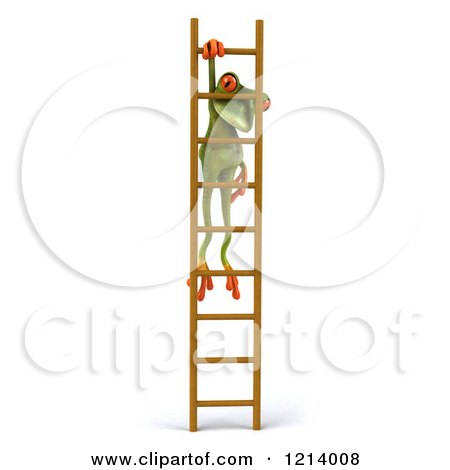 Clipart of a 3d Springer Frog Hanging from a Ladder 2 - Royalty Free Illustration by Julos