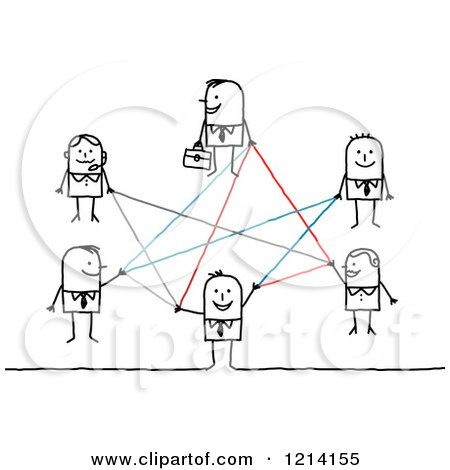 Clipart of a Network of Stick Business People - Royalty Free Vector Illustration by NL shop