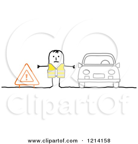 Clipart of a Stick People Road Man Between a Sign and Broken down Car - Royalty Free Vector Illustration by NL shop