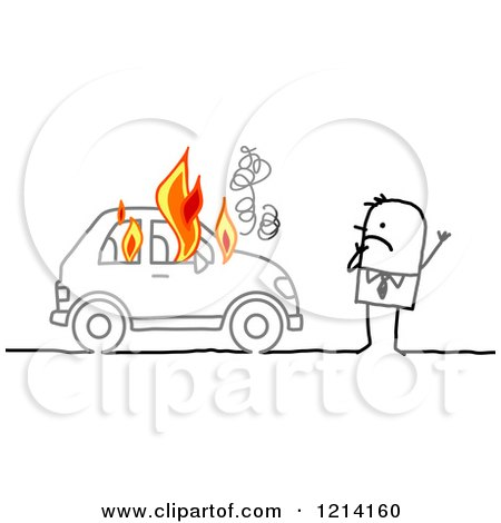 Clipart of a Stick People Business Man by a Burning Car - Royalty Free Vector Illustration by NL shop