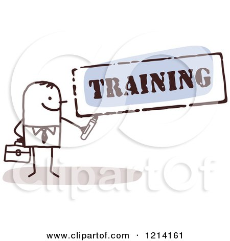 Clipart of a Stick People Business Man Holding a Marker Under the Word TRAINING - Royalty Free Vector Illustration by NL shop
