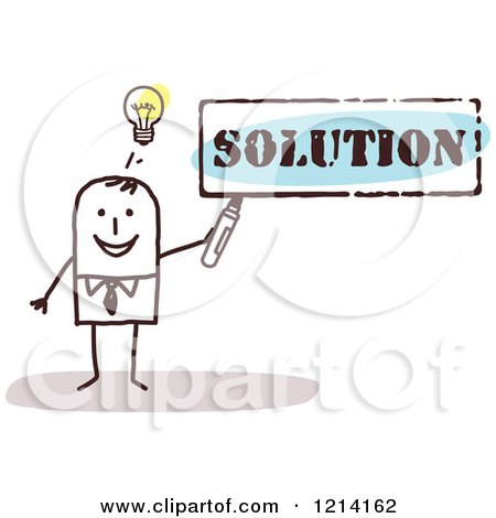 Clipart of a Stick People Business Man Holding a Marker Under the Word SOLUTION - Royalty Free Vector Illustration by NL shop