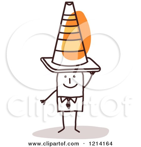 Clipart of a Stick People Business Man Wearing a Construction Cone on His Head - Royalty Free Vector Illustration by NL shop