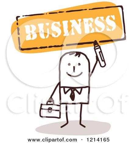 Clipart of a Stick People Business Man Holding a Marker Under the Word BUSINESS - Royalty Free Vector Illustration by NL shop