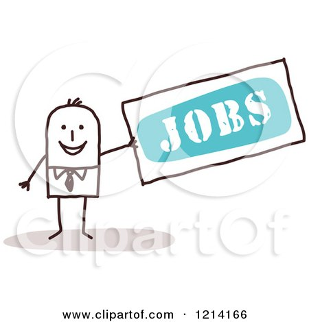 Clipart of a Stick People Business Man Holding a Sign with the Word JOBS - Royalty Free Vector Illustration by NL shop