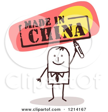 Clipart of a Stick People Business Man Holding a Marker Under MADE iN CHINA - Royalty Free Vector Illustration by NL shop