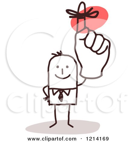 Clipart of a Stick People Business Man Holding up a Reminder Finger - Royalty Free Vector Illustration by NL shop