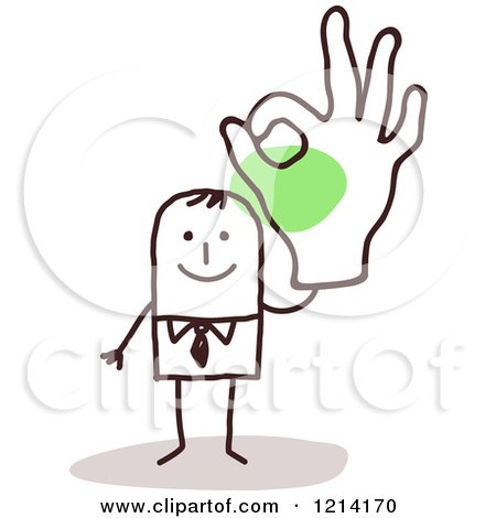 Clipart of a Stick People Business Man Gesturing Ok - Royalty Free Vector Illustration by NL shop