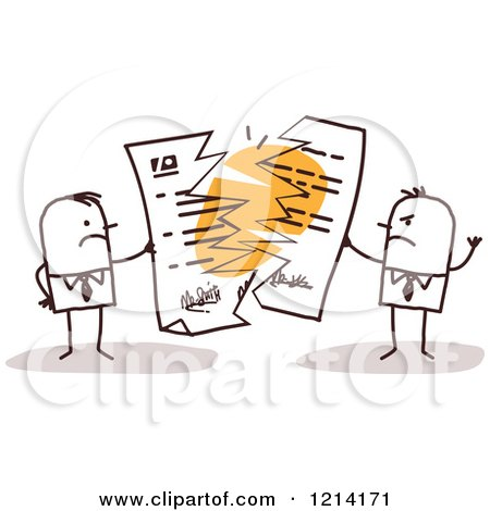 Angry Stick People Business Men Tearing Apart a Contract Posters, Art Prints