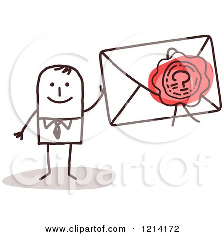 Clipart of a Stick People Business Man Holding a Sealed Envelope - Royalty Free Vector Illustration by NL shop