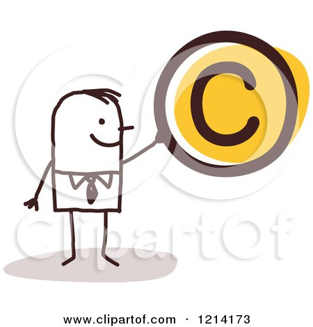 Clipart of a Stick People Business Man Holding a Copyright Symbol - Royalty Free Vector Illustration by NL shop