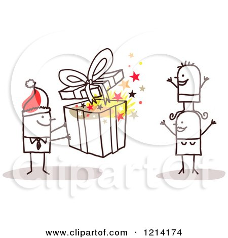 Clipart of a Stick People Business Man Giving His Wife and Son a Christmas Gift - Royalty Free Vector Illustration by NL shop