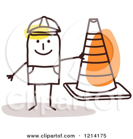 Clipart of a Stick People Construction Worker Man Holding a Cone - Royalty Free Vector Illustration by NL shop