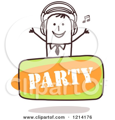 Clipart of a Stick People Business Man DJ over a Party Sign - Royalty Free Vector Illustration by NL shop