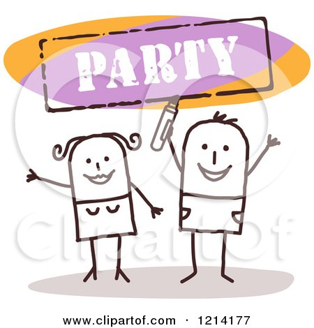 Clipart of a Stick People Couple Cheering Under a PARTY Sign - Royalty Free Vector Illustration by NL shop