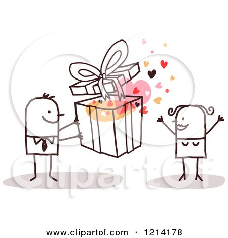 Clipart of a Stick People Business Man Giving a Woman a Gift - Royalty Free Vector Illustration by NL shop