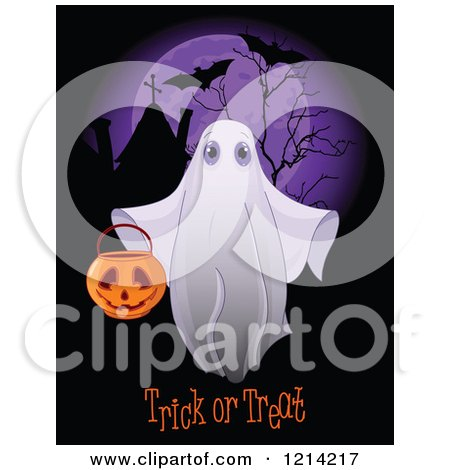 Clipart of a Halloween Ghost Holding a Bucket over Trick or Treat Text and a Full Moon with Bats - Royalty Free Vector Illustration by Pushkin