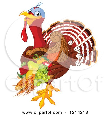 Clipart of a Cute Turkey Bird Carrying a Thanksgiving Cornucopia - Royalty Free Vector Illustration by Pushkin
